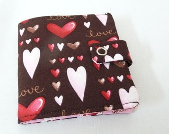 Brown and Pink Heart Print Cotton Wallet, Casual, Small room for cards and cash