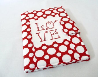 Embroidered Book Style Cover for Kindle 6, Kindle Touch, Kindle Paperwhite, Red and White Love