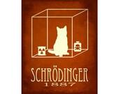 11x14 Schrodinger's Cat - Science Art Print, Schrodinger Quantum Mechanics, Steampunk Rock Star Scientist Physics Poster, Geek Decor