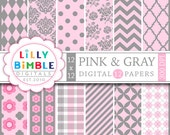 40% off Pink & Gray Digital Papers with chevron, polka dots, quatrefoil, roses, arqyle Commercial Use Instant Download