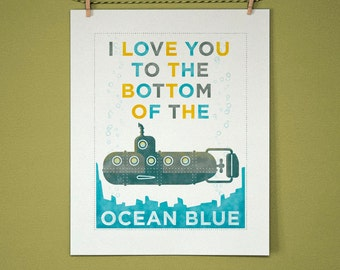"I Love You to the Bottom of the Ocean Blue Print- 11"" x 14"" Baby Room Decorations- Cute Baby Room Ideas- Nautical Baby Nursery Ideas"
