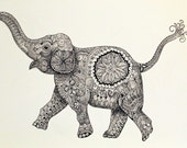 Custom Listing for Kristin Jordan Large 30x40 Original Doodle Elephant Painting in Black and White