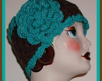 Turquoise Brown Ski Head Band Headband Extra Wide Silver Rose Ear Warmer Large