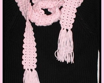Pastel Pink Skinny Scarf Fringe Long Neck Warmer Fringed Edges