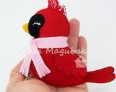 Cardinal Bird Pattern - Felt Christmas Ornament - Digital Pattern - Sewing Tutorial - PDF File Instant Download