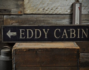 Custom Cabin Directional Arrow Sign - Rustic Hand Made Vintage Wooden ENS1000680