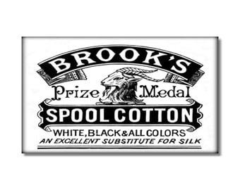 Brooks Spool Cotton Thread fridge Magnet kitchen refrigerator vintage sewing ad