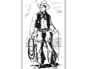 Cowboy all Decked Out fridge Magnet kitchen refrigerator 50s cowboy clothing gear vintage art