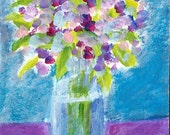 Original Acrylic Painting ACEO Pink Flowers Floral Still Life Vase Art Card ATC Free Ship
