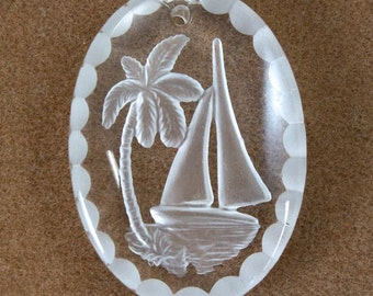 30mm Clear Etched Sailboat Pendant #2486