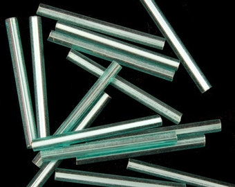 25mm Silver Lined Teal Bugle (40 grams) #CBF025