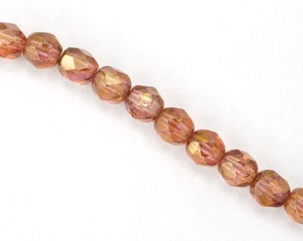 6mm Gold Luster Rose Fire Polished Bead (25 Pcs)  #GBD080