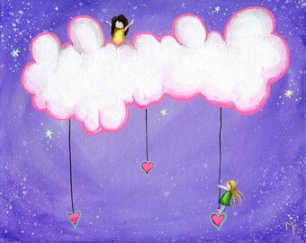 Only In My Dreams - 8x10 Art Print  - Two Little Girls Playing in Clouds - Art by Marcia Furman