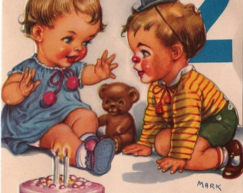 Vintage 1950's You Are 2 Birthday Card Greetings Card (B15)