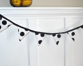 SALE Fabric Banner Garland Pennant - Black and White Polka Dot