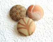 Olive buttons, fabric buttons, size 60 buttons, set of 3 buttons