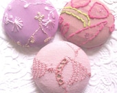 Pink buttons, fabric buttons, covered buttons, textured buttons, size 60 buttons, shank buttons