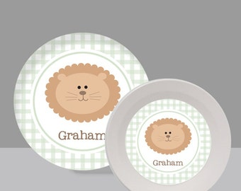 Baby Lion Melamine Bowl or Plate Custom Personalized with Childs Name