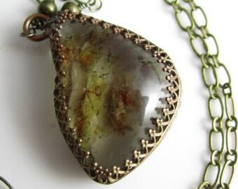 Phantom Quartz Long Dangle Necklace - Freeform quartz in Brass
