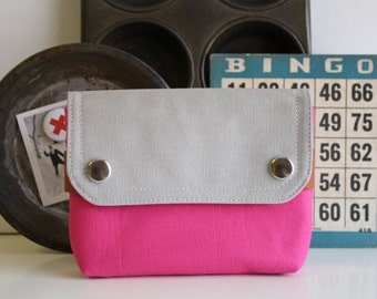 UNISEX pouch -  hot pink + smokey  - small unisex canvas travel waist belt pouch