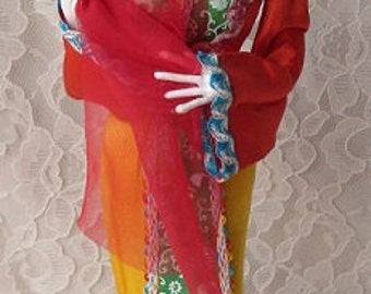 Vintage Asian Woman Display Doll with Silk Clothes 15-1/4 Inches Tall