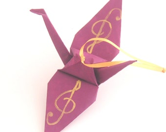 Gold Treble Clef on Mulberry Plum Handpainted Origami Crane Ornament, Music Inspired