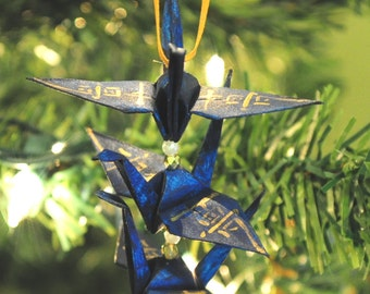 Midnight Blue Origami Crane Trio Christmas Tree Ornament with Gold Japanese Dream Kanji Holiday Decoration