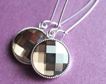 Swarovski Checkerboard Earrings - Long - Kidney Earwires