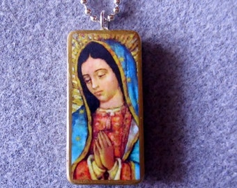 Our Lady of Guadalupe Recycled Domino Necklace Patron of Unborn Children OLG5