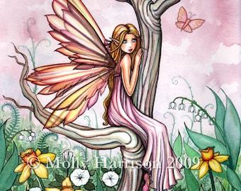 Marta's Garden - Daffodill Flower Fairy - Watercolor Illustration Fine Art Giclee Print by Molly Harrison Fantasy Art