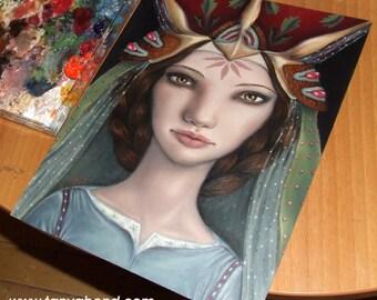 Adele - ORIGINAL oil painting - surreal pop fantasy art - medieval costume - goddess spiritual - lowbrow art portrait by Tanya Bond