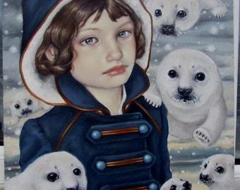 Seal Snow - original oil painting illustration art by Tanya Bond - pop surrealism snowflakes harp seals winter fairy girl big eyed lowbrow