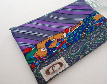 Wristlets Made From Recycled Mens Silk Purple and Green Multi Pattern Ties