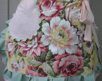 Aprons with Pink Roses - Handmade Aprons - Yellow Rose Apron - Shabby Chic Apron - Annies Attic Aprons