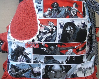 Aprons - Zombies - Walking Dead Apron - Red and Black Zombie Apron - Aprons with Tatts - Lined Aprons - Annies Attic Aprons - Walkers Aprons