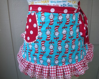 Aprons - Dr. Seuss Apron - Womens Half Apron - The Cat in the Hat Apron - Dr. Seuss 1957 - Teachers Gift - Robert Kaufman Fabric