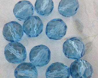 18 pcs. fire polished glass faceted turquoise blue beads 14mm - f4435