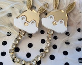 Gold and White Acrylic Laser Cut Bunny Rabbit Head Collar Clip