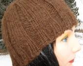 HandKnit Alpaca / Wool Hat for Small Men or Women, Handmade Beanie, Warm Winter Beanie, Brown Ribbed Hat