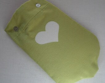 Solid Leaf Green Flannel Hot Water Bottle Cover, plain or with Heart Applique