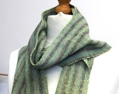 Handwoven Scarf Wool & Silk Unisex 72 x 7 inches