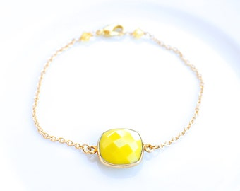 Bright Yellow Delicate Chain Bracelet - Gold