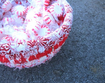JUNIOR MINT SERIES Peppermint red and white hand coiled basket bowl  Number One