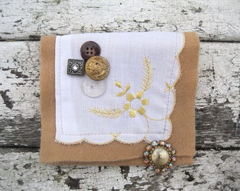 VINTAGE LiNEN KEEPSAKE POUCH with Sparkly buttons
