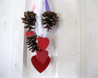 PINE CONE RIBBONS holiday decoration with Valentine Hearts