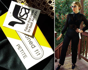 JET Black 1970's Vintage Deadstock Polyester Pants with High Waist // by Lady BLAIR // size Small Petite