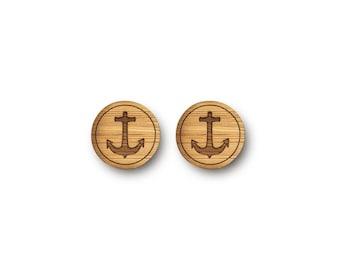 Mini Anchor Earrings. Anchor Earrings. Wood Earrings. Stud Earrings. Laser Cut Earrings. Bamboo Earrings. Gifts For Her. Gift For Women.