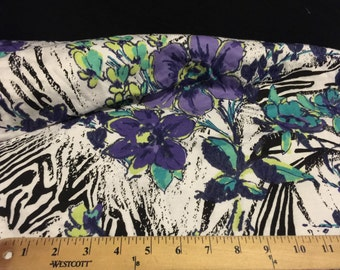 French Terry Cotton  Knit 1 Yard Floral Print