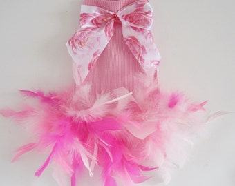 Dog Tutu Floral Feathers dog dress dog clothes small dog yorkie chihuahua
