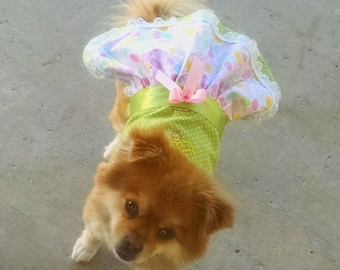 dog clothes Harness Dress  Pink and Green Easter Vest for your Yorkie Chihuahua Pomeranian Maltese Dachshund Teacup Puppy Fur baby